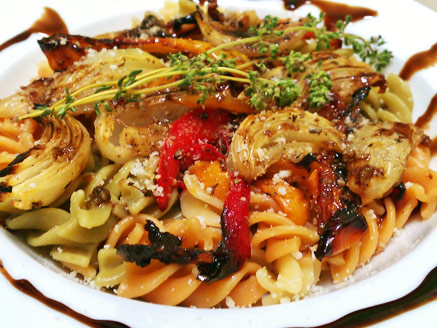 Pasta with Roasted Onion and Peppers