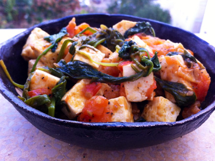 Tofu with Spinach and Tomatoes