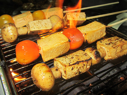 Tofu and Mushrooms Skewers in a Barbecue Marinade