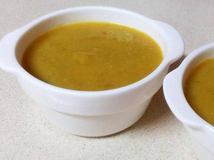 Pea Soup with Orange Lentil and Vegetables