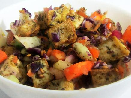 Vegan Vegetable Salad with Crispy Tofu