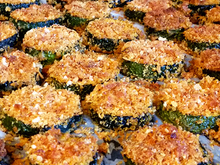 Baked Zucchini Slices with Cornflakes Crumbs