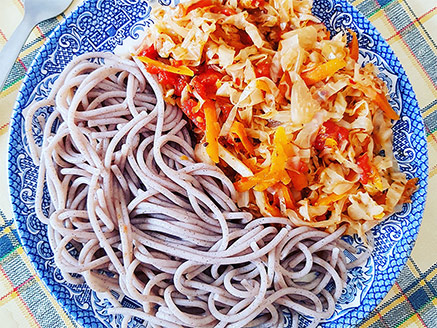 Cabbage and Carrot in Tomato Sauce Alongside Buckwheat Noodles
