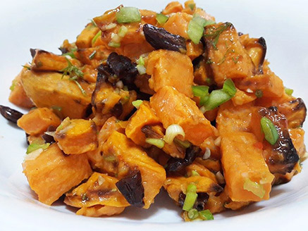 Sweet Potato Salad in Sweet Chili Sauce and Candied Pecans