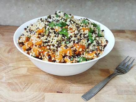 Vegan Bulgur Salad with Black Lentil and Roasted Sweet Potato