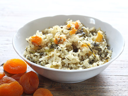 Brown Green Persian Rice with Dried Apricots