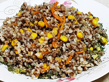 Buckwheat with Vegetables in a Rich Seasoning