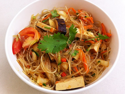Bean Noodle Salad with Baked Tofu
