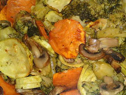 Vegan Antipasto: Broccoli, Mushrooms, Sweet Potatoes and Zucchini