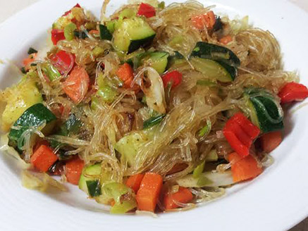 Thin Bean Noodles with Vegetables