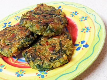 Quinoa, Orange Lentil and Spinach Patties
