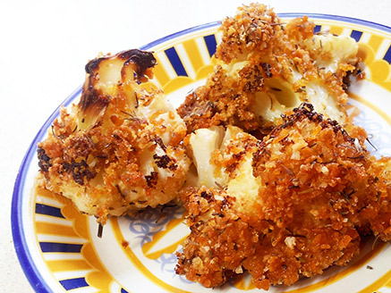 Cauliflower Flowers in Cornflakes Crumbs and Thyme