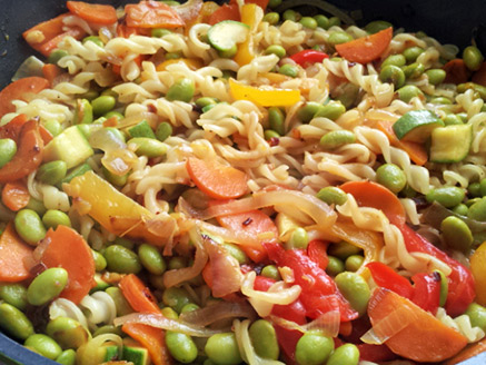 Stir-Fried Rice Noodles with Edamame and Vegetables