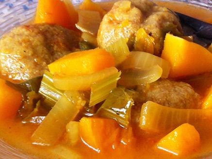 Vegan Chestnuts Kibbeh in Sour Pumpkin Soup
