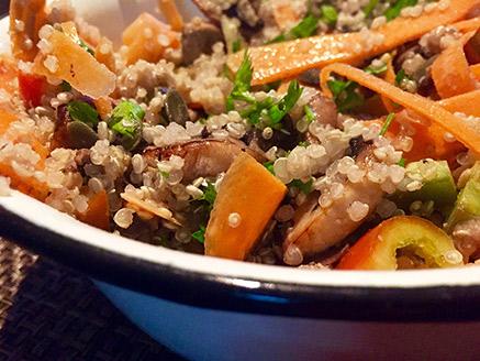 Quinoa Salad with Stir-Fried Mushrooms