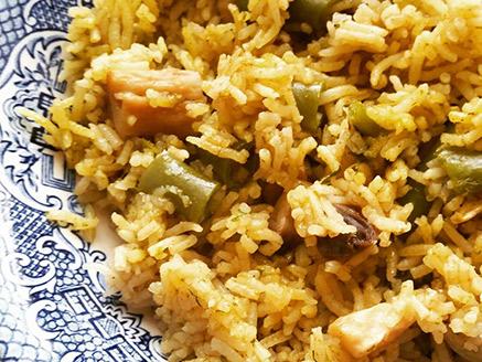 Basmati Rice with Green Bean and Mushrooms