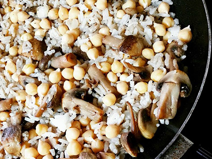 Rice with Mushroom and Chickpea
