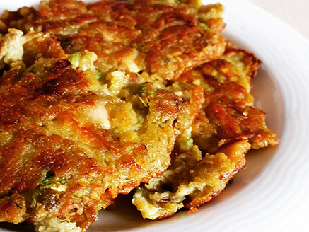Lentil Flour Omelette with Onion, Zucchini and Mushroom