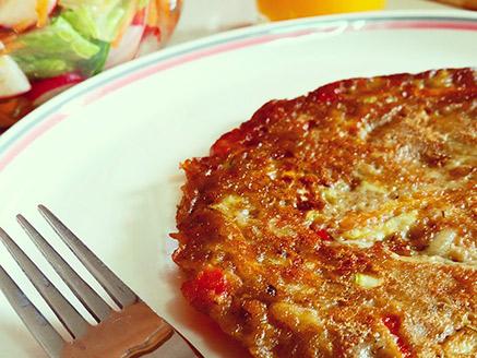 Vegan Omelette with Teff Flour, Lentil Flour and Vegetables