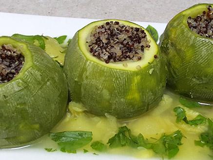 Zucchini Stuffed with Quinoa