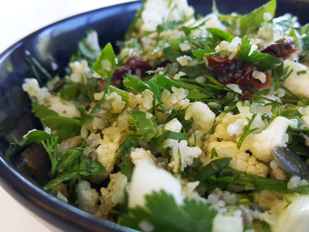 Cauliflower Tabbouleh with Sun-Dried Tomatoes and Lime