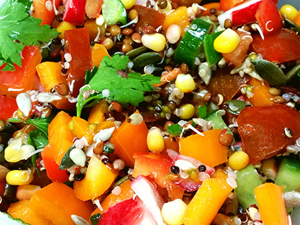 Vegetable Salad with Sprouted Lentil and Quinoa