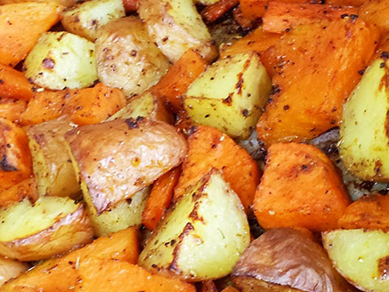 Baked Orange Vegetables and Potatoes