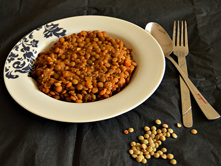 Vegan Green Lentil Stew with A Selection of Vegetables