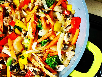 Stir-Fried Vegetables in A Pan with Soy Sauce