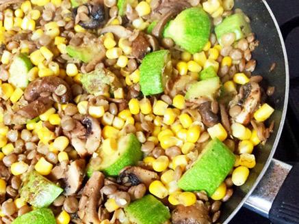 Vegan Lentil Stew with Corn, Mushroom and Zucchini
