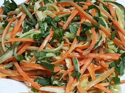Cucumber and Carrot Salad in Tahini Sauce