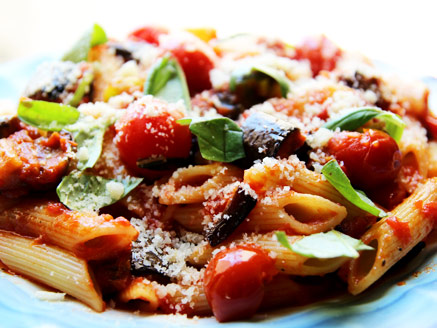 Penne Pasta with Eggplant and Cherry Tomatoes